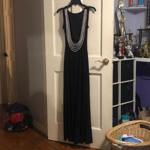 Long black beaded with pearls, open back dress